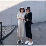 品質自信あり 韓国ファッション ラウンドネック セーター ロングセクション ニットワンピース