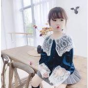 秋冬 子供服 Tシャツ シャツ キッズ服 女の子 レース 綺麗 トップス ビロード カジュアル系