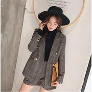 格好いい  韓国ファッション  新品 減齢 レトロ 秋冬物 チェック柄 ショートパンツ スーツ 2点セット