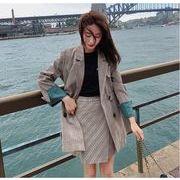 YUNOHAMI 韓国風 セットアップスーツ チェック柄 長袖 小さなスーツ 收腰+ 短スカート レトロ 秋冬即納
