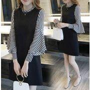 ワンピース 長袖 配色 ストライプ 韓国ファッション オシャレ スリムスタイル  レディース