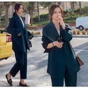 YUNOHAMI韓国風 セットアップスーツ 長袖 ダブルボタンスーツ+ ハイウエスト スラックス ゆったり 秋冬