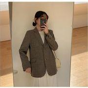 YUNOHAMI 全2色 コートアウター 長袖 グレンチェック 小さなスーツ ヴィンテージ風 おしゃれ 秋冬即納