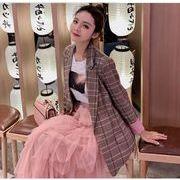 YUNOHAMI コートアウター 韓国ファッション チェック柄 長袖 小さなスーツ ゆったり レトロ 秋冬即納