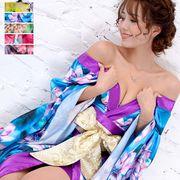 1089サテン花柄ロング着物ドレス 衣装 ダンス よさこい 花魁 コスプレ キャバドレス