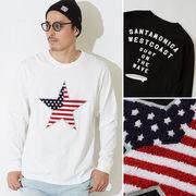 星条旗 スター サガラ 刺繍 ワッペン 長袖 ロング Tシャツ メンズ レディース ロンT ロンティー プリント