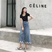 女性美up↑ 初秋 香港フレーバー  カジュアル ファッション 百掛け ロングスカート