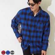 2019新作 メンズ ヘビーネル タータンチェック柄 長袖 オープンカラーシャツ