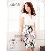 【Belsia】お腹見せ!ぼかしflowerハイウエスト切り替えミニドレス 袖付きキャバクラドレス