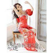 キャバ花魁!艶美サテンワンショル和柄ロングドレス 尾崎紗代子 着用ドレス キャバクラ着物ドレス