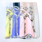 【日本製】【スカーフ】シルクサテンストライプ生地手綱エルメス柄日本製四角大判スカーフ