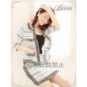 【BELSIA】大人MIXツイードセットアップフォーマル◎スーツ ノーカラー七分袖キャバクラスーツ 式スーツ