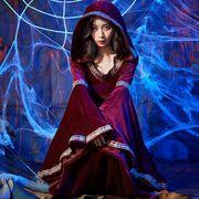 【ハロウィン】魔女 S-XL ロング丈 Halloween コスプレ衣装 レディース コスチューム