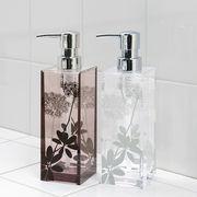 プランツ柄×透明アクリルのモダンな浴用品『サリナ』 シャンプーボトル