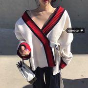 韓国ファッション エレガント ウエストリボン セーター アウター
