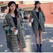 YUNOHAMIコートアウター 韓国ファッション  長袖 チェック柄 中長スタイル 小さなスーツ レトロ 秋冬即納