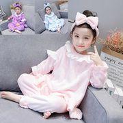 子供服 部屋着 冬 厚手 7-15# 選べる3色 セットアップ 女の子 ホームウェア パジャマ