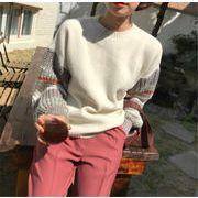 秋アウターがいまだけ早割  トレンド 縫付 ラウンドネック カーディガン プリント セーター