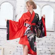 0709ツートンカラー孔雀柄着物ドレス 和柄 衣装 ダンス よさこい 花魁 コスプレ キャバドレス