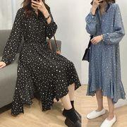 【大きいサイズL-4XL】ファッションワンピース♪ブルー/ブラック2色展開◆