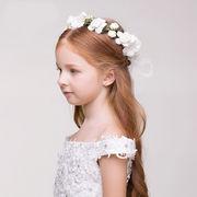 お花 ヘッドドレス ヘアアクセサリー 髪飾り キッズ 女の子  花付き ボンネ 可愛い アクセサリ
