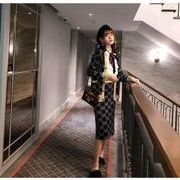 YUNOHAMI韓国風ニットセット カラフル配色 長袖 カーディガン+スカート 膝丈 ラメいり 何とでも合う 秋冬