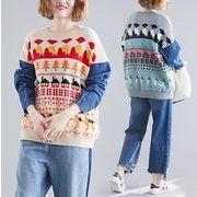 【秋冬新作】ファッションセーター♪ダークブルー/アンズ/グレー3色展開◆