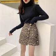 初秋 欲しかったあの商品 韓国ファッション  単体ボタン ハイウエスト  イレギュラー ミニスカート