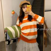 韓国風 シンプル ファッション 風 何でも似合う 怠惰な 引きひも ストライプス ルース