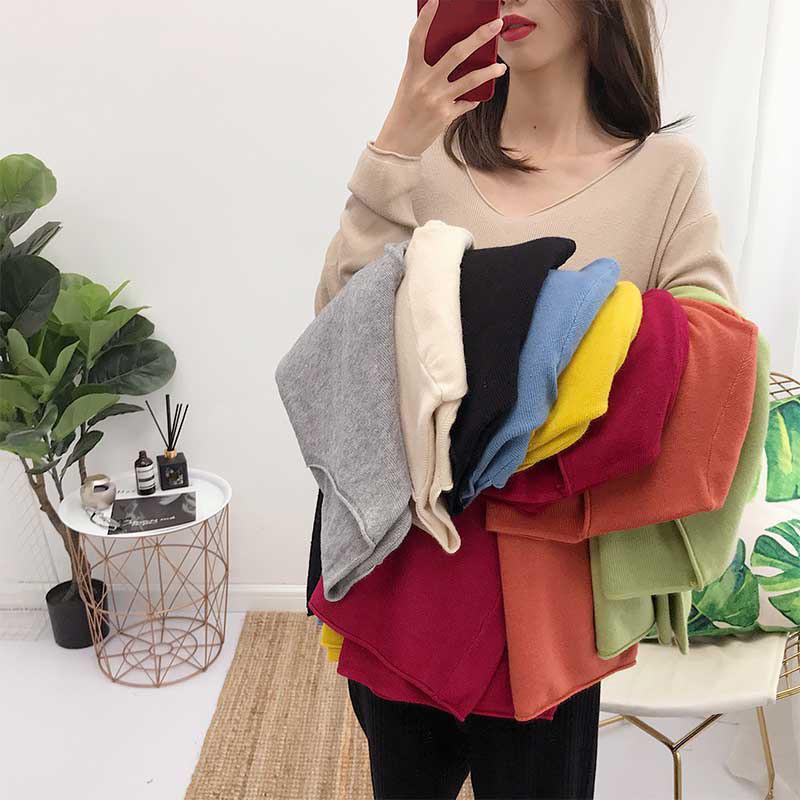 全6色★ニット 韓国ファッション Vネックセーター シンプル 秋冬ニット