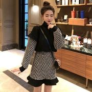 新しいデザイン 韓国風 ハイネック 偽 ヘッジ ショートセーター 羊毛の 短いスカート
