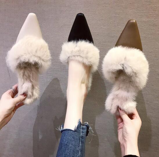 2019新作 ミュール スリッパ ファー 通勤 中ヒール 韓国 ファッション
