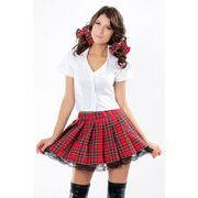 【即納】 ★ コスプレ ★ 高校生 上下セット ★ 制服 ★ ホワイト & チェック