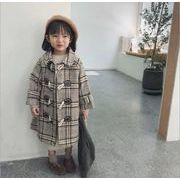 女の子 女児  長袖 ラシャコートチェック  子供服 キッズ服  冬物 3-8歳 カジュアル系 防寒