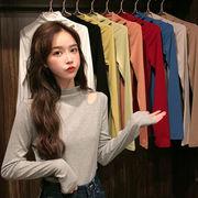 韓国風 ファッション シンプル 何でも似合う 長袖Tシャツ 着やせ 着やせ セミハイ襟