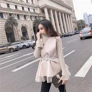 2色韓国ファッション 新品 大人気 ボトミングシャツ+ウール ビーズ トップ 2点セット セット