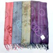 【ストール】【マフラー】インドの伝統アリ刺繍&タイダイストール