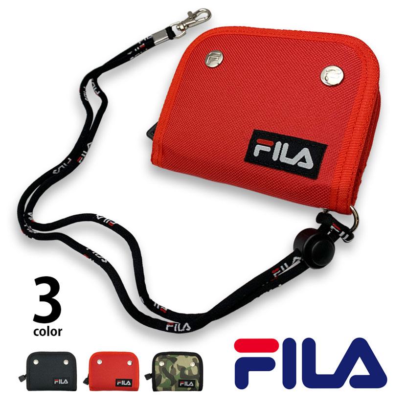 全3色 FILA(フィラ) スナップボタン ロゴ デザイン 二つ折り 財布 ネックストラップ 付き ウォレット