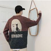 【2019秋冬新作】メンズ◆ニット トップス◆長袖◆カジュアル◆丸首のセーター◆2色◆M-XXL