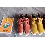 スクエアヘッド アッパー低い 靴 靴 スエード  厚底 ささいなこと ヒール ストーム