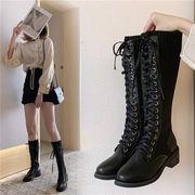 騎士のブーツ 女 飛びます 織 ハイブーツ 秋と冬 新しいデザイン 太いヒール 女靴 ネ