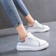靴 女靴 秋と冬 新しいデザイン ネット レッド 白い靴 ひもあり 厚底 風 カジュアル
