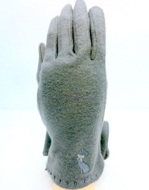 【手袋】【婦人用】婦人あったかソフトアクリル・猫柄手袋