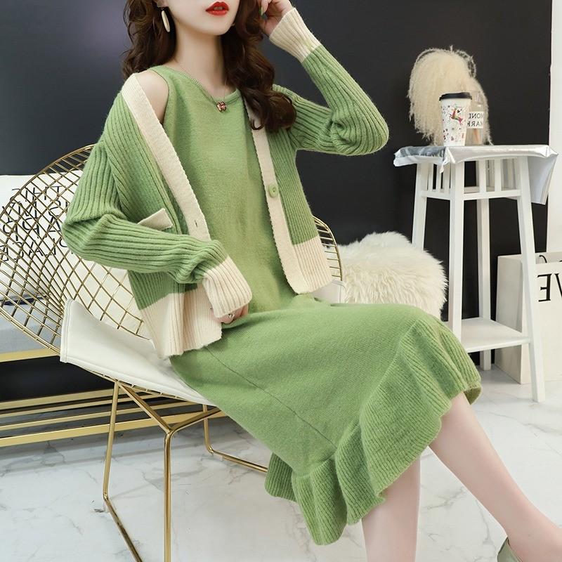ロングワンピース&ニットカーディガン 韓国ファッション ニットセットアップ