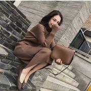 4色 超人気秋 新しいデザイン 韓国風 何でも似合う 着やせ ピット 枚 長袖ワンピース ヘッジ