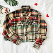 韓国風 アンティーク調 羊毛の グリッドシャツ ルース 何でも似合う ポケット 羊毛の