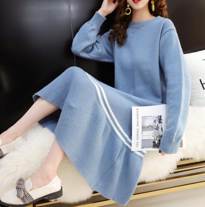 ニット ワンピース ゆったり 裾フリル 韓国ファッション セーター