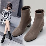 ブーツ 女 秋冬 新しいデザイン 英国スタイル スクエアヘッド 太いヒール アンクルブー
