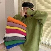 韓国風 ルース 単一色 丸襟 中長スタイル 長袖 プルオーバー 女子学生 秋冬 新しいデ