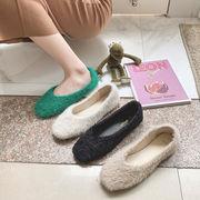 ピーズ靴 女 ウインター 裏起毛 女靴 新しいデザイン 秋ウインター 何でも似合う フラ